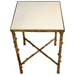 Beveled Mirror Top Side Table