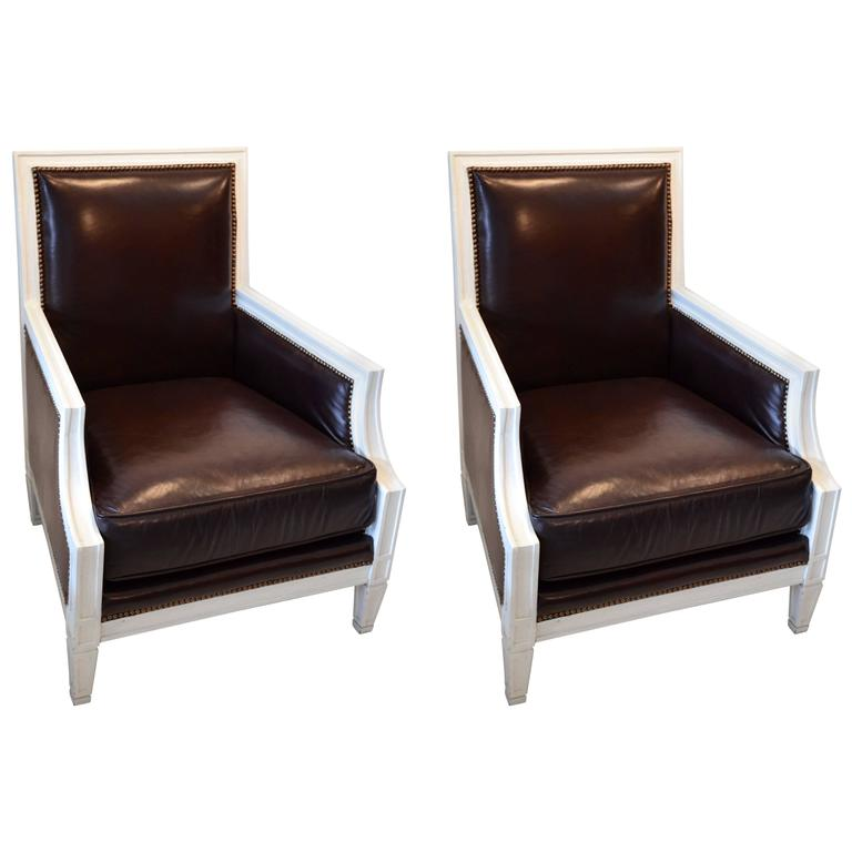 Pair of Stunning Chocolate Leather Armchairs For Sale