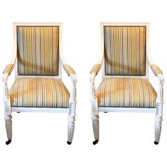 Pair of White Lacquered Salon Chairs