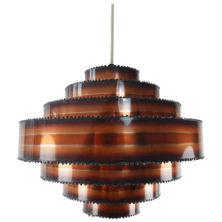 Two Holm Sorensen Danish Modern Brutalist Tiered Copper Pendants, 1960s
