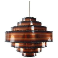 Holm Sorensen Danish Modern Brutalist Tiered Copper Pendants, 1960s. Three items