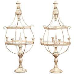 Large Pair of French Wood and Iron Painted Girandoles Candleholders on Stand