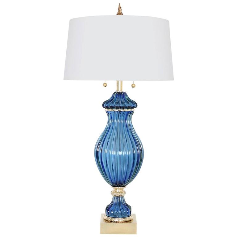 Restored Seguso for Marbro Blue Murano Glass Ribbed Lamp For Sale