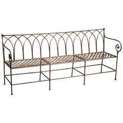 Polished Iron French Empire Style Three-Seat Bench with Weave and Arch Decor