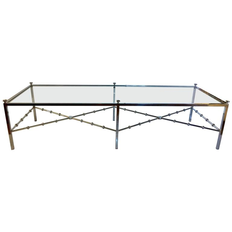 Long Bamboo Coffee Table: Maison Jansen Style Long Chrome Faux Bamboo Cocktail Table