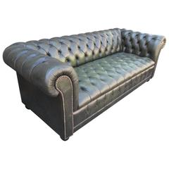 Green Leather Tufted Chesterfield Sofa
