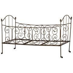 Antique French Iron Campaign (Folding) Bed, circa 1875