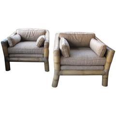 Mammoth Pair of Bamboo Armchairs