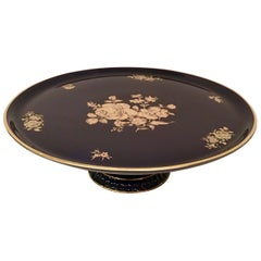 20th Century German Porcelain & 22-Karat Gold Footed Cake Platter By, Bareuther