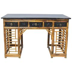Bamboo Chinese Pedestal Desk with Ebonized Top and Drawers, circa 1930