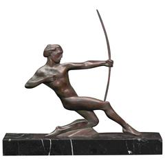 """Nude Male Archer,"" Rare and Dramatic Art Deco Bronze Sculpture"