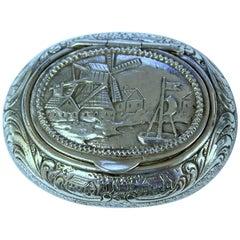 Antique German .800 Fine Silver Hand Chased Snuff Box, Windmill Scene
