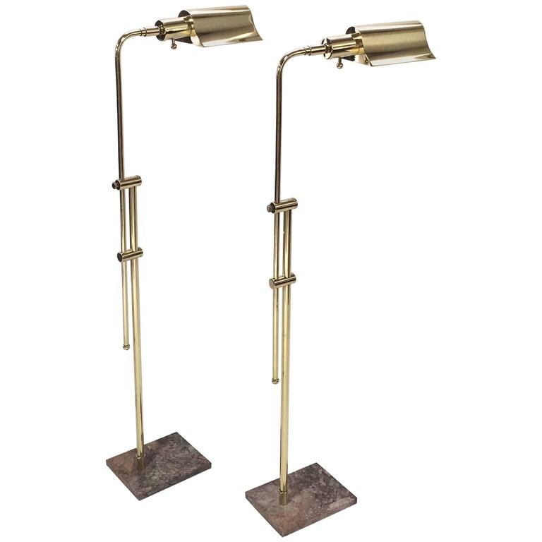 Pair of brass and marble adjustable reading floor lamps by for Casella brass floor lamp