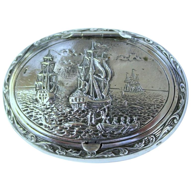 Antique Dutch .833 Fine Silver Hand Chased Snuff Box, Sailing Ships Motif