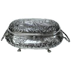 Large Antique Dutch .833 Fine Silver Hand Chased Cushion Shape Casket or Box