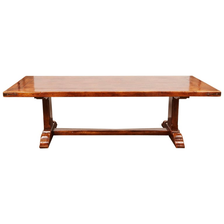 20th Century, French Walnut Trestle Dining Table