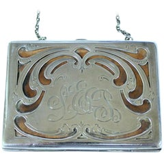 Antique American Hand Pierced and Engraved Sterling Card Case or Coin Purse