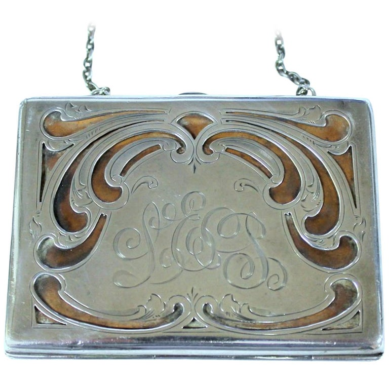 Antique American Hand Pierced and Engraved Sterling Card Case or Coin Purse For Sale
