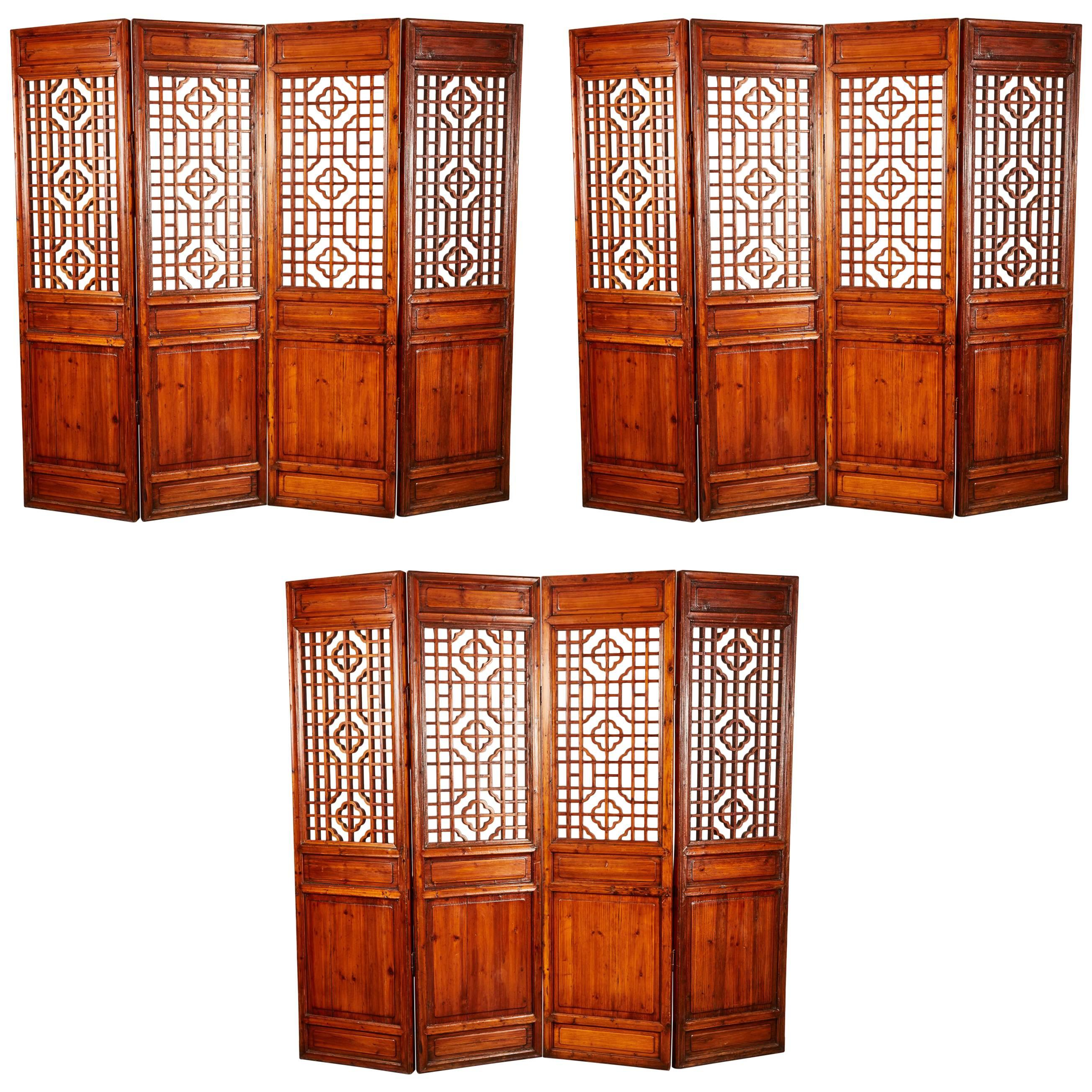 Set of 12 Brown Late 19th Century Chinese Geometrically Carved Panels