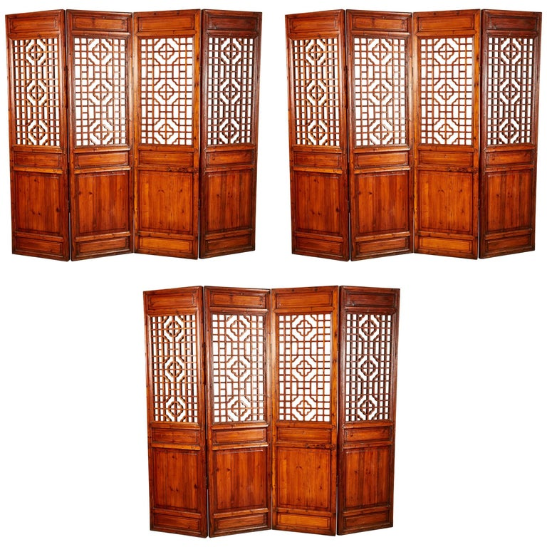 Set of 12 Brown Late 19th Century Chinese Geometrically Carved Panels For Sale