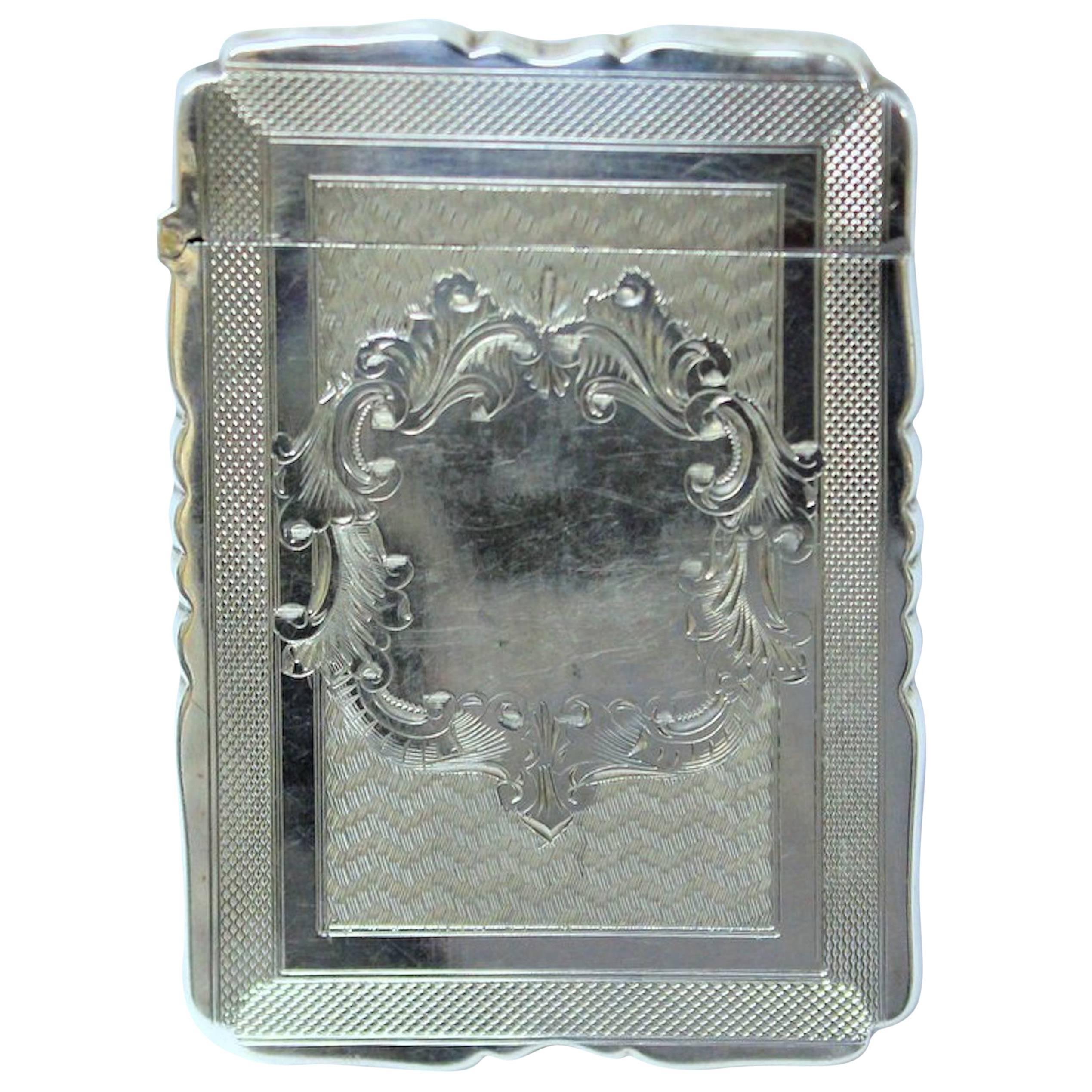 Antique American Hand Engraved .900 Fine Coin Silver Albert Coles Card Case