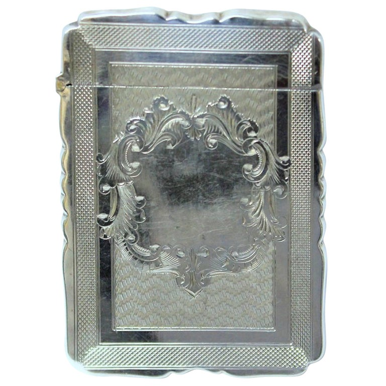 Antique American Hand Engraved .900 Fine Coin Silver Albert Coles Card Case For Sale