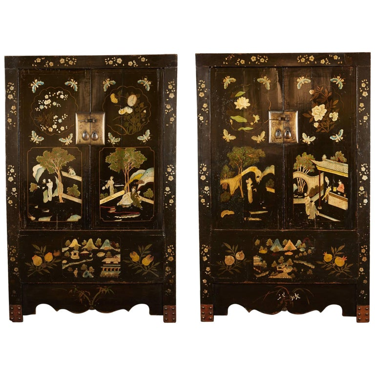 Rare Pair of 18th Century Chinese Qing Style Black Painted Cabinets