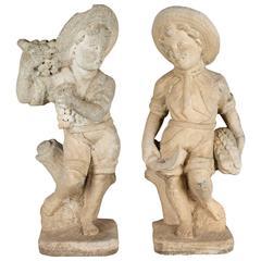 Pair of Italian Cast Stone Garden Statues