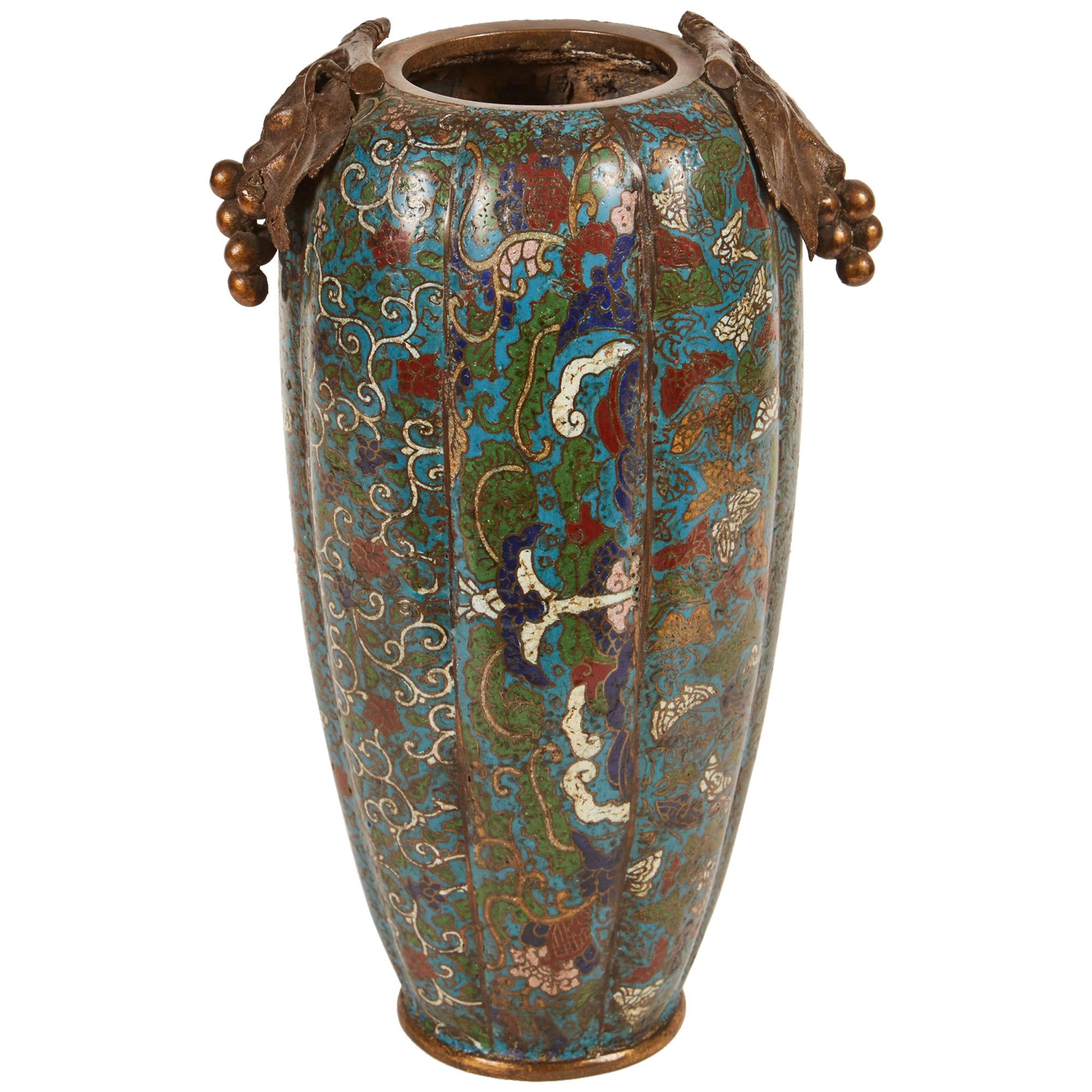 19th Century Chinese Cloisonné Vase with Grape Handles