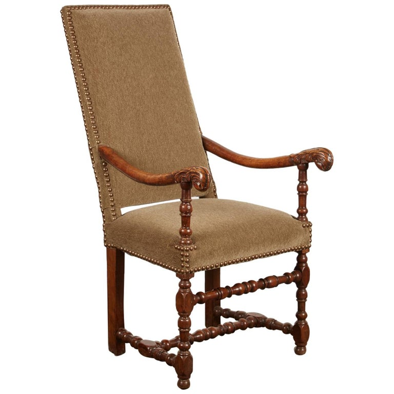 17th Century Louis XIII French Walnut Armchair For Sale