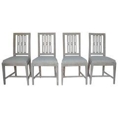 Set of Four 18th Century Swedish Gustavian Period Original Paint Dining Chairs