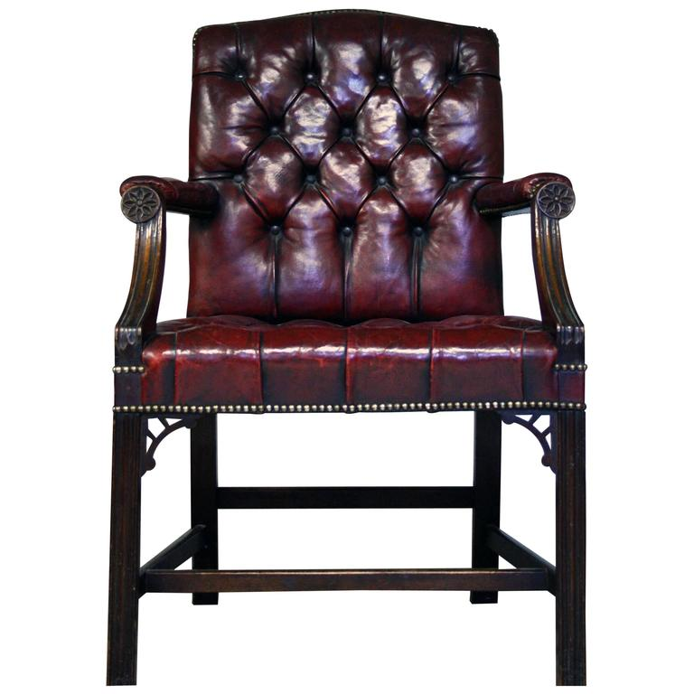 Early 20th Century Gainsborough Style Red Leather Chair 1
