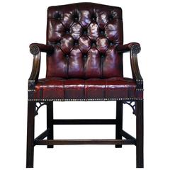 Early 20th Century Gainsborough Style Red Leather Chair