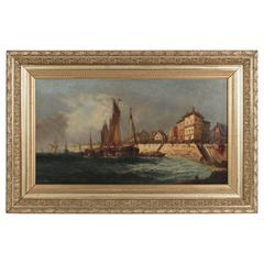 Oil on Canvas French Stranding Port at High-Tideby Charles Roussel, circa 1891