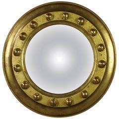 Regency Federalist Style Small Giltwood Circular Convex Mirror, circa 1930