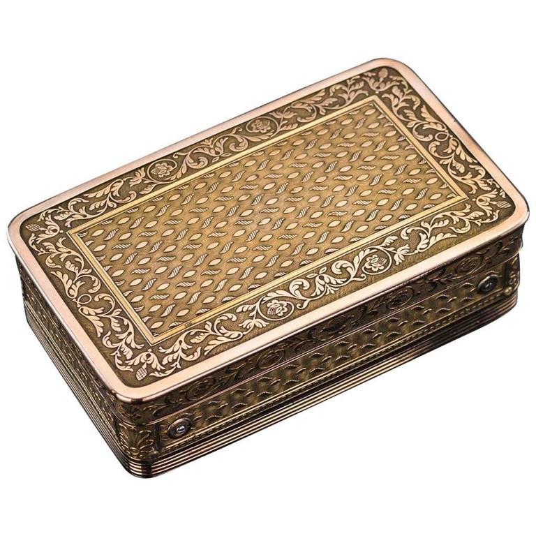 Antique 19th Century French Silver Gilt Music Snuff Box, circa 1810