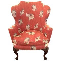 Classic Queen Anne Upholstered Wing Chair with Turned Legs