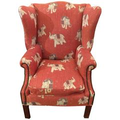 Big Comfy Vintage Chippendale Style Wing Chair