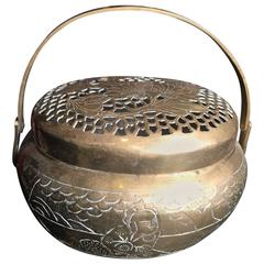 China Antique Metal Hand Warmer and Incense Burner, 19th Century