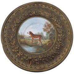 19th Century Faience & Brass Framed Hunting Dog Wall Plaque Choisy Le Roi