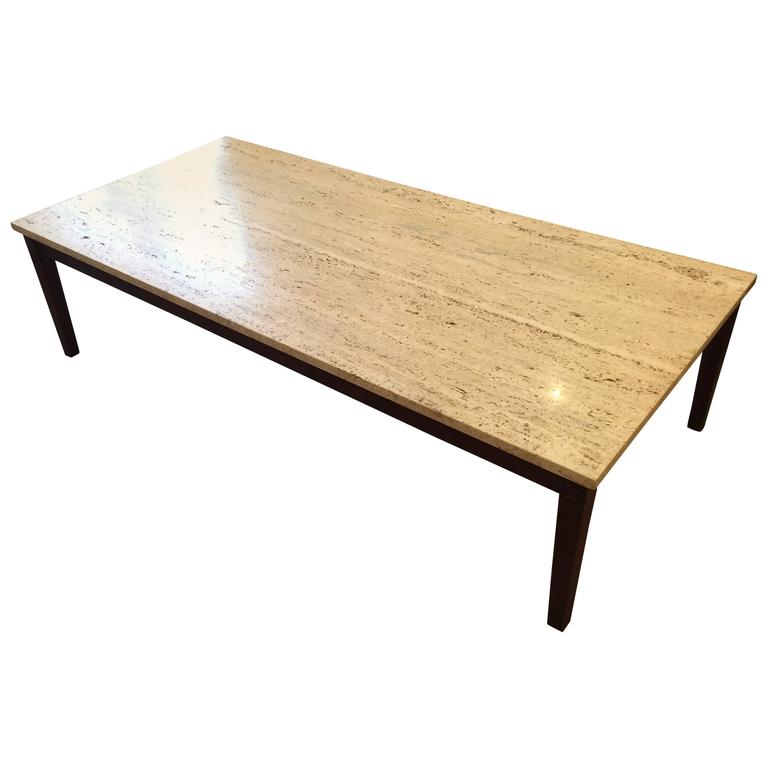 sleek mid-century modern travertine and teak coffee table for sale