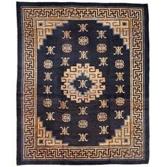 Antique Mongolian Chinese Carpet with Longevity Motifs