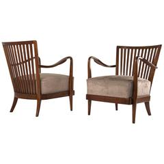 Pair of Impressive Armchairs in the Style of Paolo Buffa, Italy, 1950s