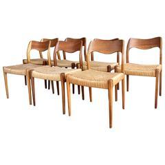 Seven Niels O. Møller Mid-Century Modern Teak Dining Chairs