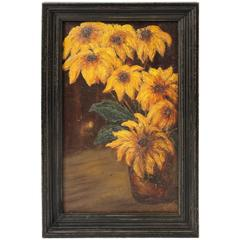 Signed Vintage Oil Painting of Sunflowers