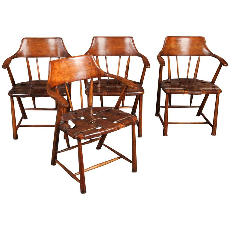 Vintage Set Of Four Wood Leather Captains Chairs Attributed To Wharton Esheri