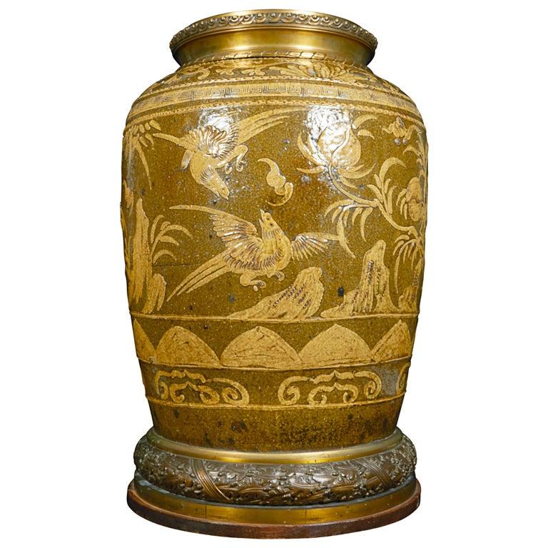 Monumental Chinese Porcelain Jardinière Mounted in Louis XVI Style Ormolu