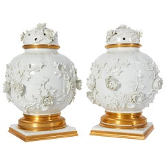 Chinese Blanc de Chine Porcelain & Ormolu-Mounted Potpouri Vases and Cover, Pair