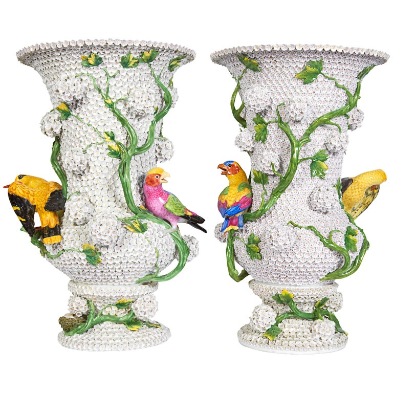 Monumental Pair of Meissen Porcelain Snowball Vases with Parrots and Birds
