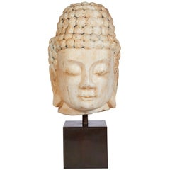 White Stone Head of Buddha, Chinese, Ming Dynasty, '1368-1644'